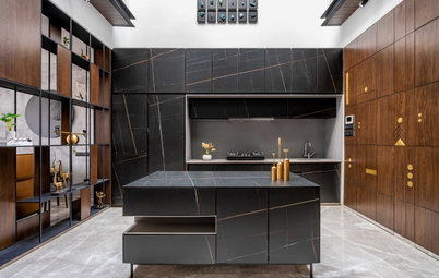 Surat Houzz: A Voguish Home With a Double-Height Kitchen