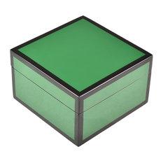 Lacquer Small Square Box (Hunter Green with Black)