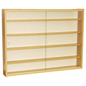 Display Cabinet, Oak Particle Board With Glass Sliding Doors, 4 Inner Shelves