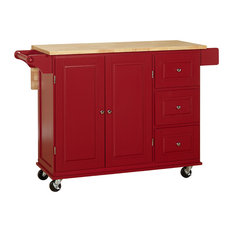 Residence Galloway Kitchen Cart Red And Natural Islands Carts