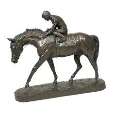 WELL RUN HORSE AND JOCKEY SCULPTURE