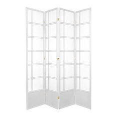 7' Tall Double Cross Shoji Screen, White, 4 Panels