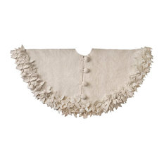 Arcadia Home - Overlapping Flowers Christmas Tree Skirt in Rustic Hand Felted Cream Wool - Christmas Tree Skirts