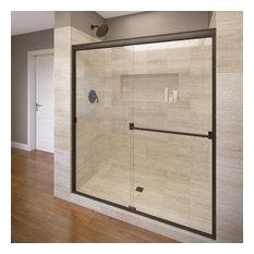 "Basco Shower Enclosures - Classic Semi-Frameless Sliding Shower Door, 56-60"", Clear, Oil Rubbed Bronze - Shower Doors"