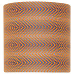 Adriana Homewares - Newton Kyme Orange and Blue Lampshade, Small - The Newton Kyme Lampshade brightens up contemporary living rooms or bedrooms with its bright orange and blue herringbone design. Made of wool with a crystal-clear PVC inner, this small lampshade is durable and eye-catching. Adriana Homewares designs and manufactures luxurious handmade fabrics in their Yorkshire studio.