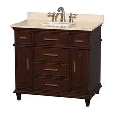 "36"" Single Bathroom Vanity in Dark Chestnut w/ Ivory Marble Top, Undermount Sink"