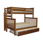 Bedz King Bunk Beds Twin over Full with End Ladder and Twin Trundle, Espresso