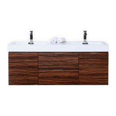 "KUBEBATH - Kubebath Bliss 60"" Double Sink Walnut Wall Mount Floating Vanity Dark Oak - Bathroom Vanities and Sink Consoles"