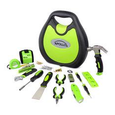 Apollo Tools 72 Piece Household Tool Kit, Green