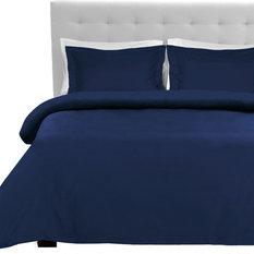 Luxury 3 Piece Duvet Cover and Sham Set, Dark Blue, King