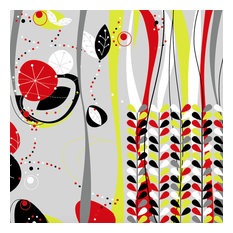 Red and Yellow Abstract Leaves Wallpaper Mural, Woven Effect, 550x300 cm
