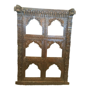 Mogulinterior - Consigned Antique Indian Jharokha Hand-Carved Wood Arched Mirror Frame - Wall Sculptures