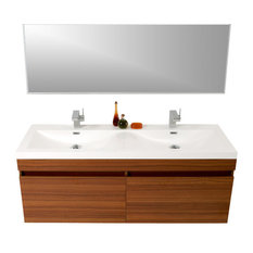 "56.63"" Largo Teak Vanity, Wavy Double Sinks, Teak, Isarus Chrome Faucet"