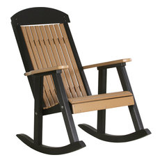 Poly Highback Porch Rocking Chair, Cedar/Black