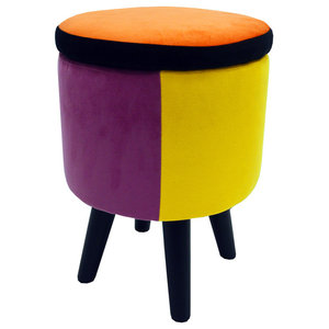 Soleil Contemporary Round Padded Stool, Black/Black/Multi