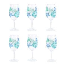 Shell Pattern Wine Glass Set of 6