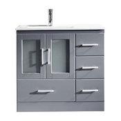 "36"" Single Bath Vanity in Grey,Slim White Ceramic Top,Square Sink,Faucet"
