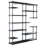 Furniture Pipeline - Nashville Mid-Century Etagere Bookcase, Dark Brown - Unique chic space saving and beautifully designed  is what comes to mind when you first lay eyes on our Nashville bookcase/etagere! It is a perfect lightweight  asymmetrical design storage addition to your office or living space. Each metallic component is expertly crafted from the finest materials including aircraft-grade recyclable aged finished aluminum and sustainable reclaimed/aged finished solid Paulownia (looks like Ash  lifts like cardboard!) wood. This bookcase/etagere is lightweight and durable  easy to move around as needed  arriving at your doorstep with 100% recyclable packaging for a lifetime of enjoyment!
