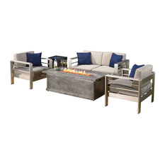 GDFStudio - 4 -Piece Outdoor Aluminum Fire Table Sofa 4-Piece Set - Outdoor Lounge Sets