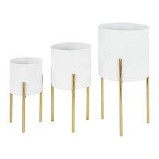 Large Round Indoor/Outdoor Metallic Metal Planters Stands, Set of 3, White