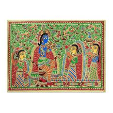 Handmade Radha and Krishna Rejoice Madhubani painting - India