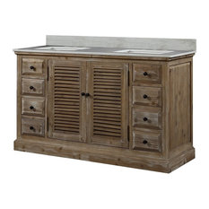"Infurniture 60"" Solid Wood Sink Vanity With Arctic Pearl Quartz Top, No Faucet"