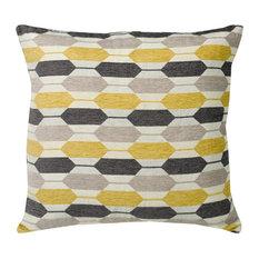 "Modern Hexagon Yellow and Gray Cushion, 20""x20"""