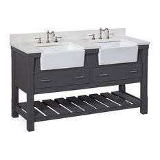 "Charlotte Bathroom Vanity, Charcoal Gray, 60"", Quartz Top, Double Sink"