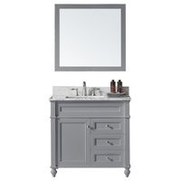 "36"" Single Bathroom Vanity, Taupe Gray with Carrara Marble Top and Mirror"