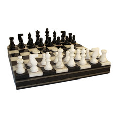 Black and White Alabaster Inlaid Chest, Chess and Checkers Set