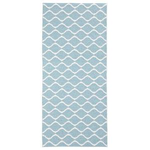 Wave Woven Vinyl Floor Cloth, Blue, 70x300 cm