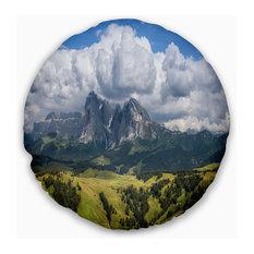 """Sassolungo Mountain Panorama Landscape Printed Throw Pillow, 20"""" Round"""