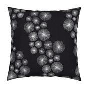 Black And White Dandelion Sea Urchin Waves Throw Pillow Velvet