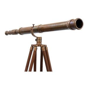 """Floor Standing Antique Brass Galileo Telescope, 65"""""""