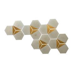 Handmade Cement Concrete Hexagon Tiles, Set of 10