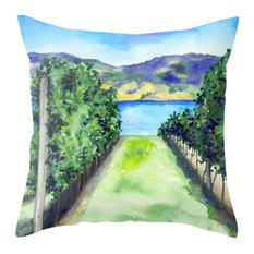 """Decorative Pillow Cover, Between the Vines, Winery Painting, 18""""x18"""""""