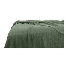 Yue Home Textile Linen Cotton Waffle Blanket, Sage, Throw