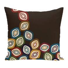 "Falling Leaves Geometric Print Pillow, Brown, 26""x26"""