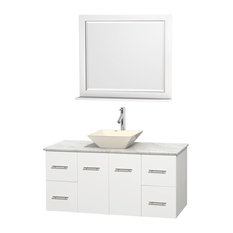 """Wyndham Collection - Wyndham Collection Single Bathroom Vanity Set, White, White Carrera Marble, 48"""" - Bathroom Vanities and Sink Consoles"""