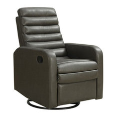 Monarch Specialties Recliner, Swivel Glider, Charcoal Bonded Leather, I8086GY