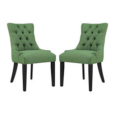 Modway Regent Tufted Dining Side Chair In Green And Black (Set Of 2)