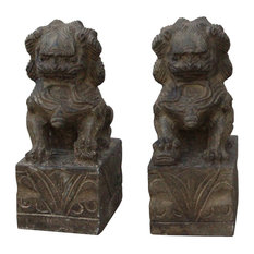 Chinese Small Pair Distressed Black Gray Stone Fengshui Foo Dogs Statues Hcs4764