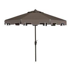 Safavieh Zimmerman Market Outdoor Umbrella With Flap, Gray