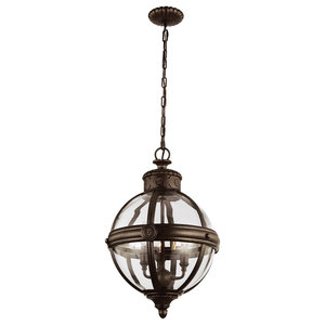 Sphere Glass Cage 3-Light Pendant Chandelier, British Bronze