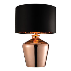 Copper Plated Glass & Black Faux Silk Table 60W