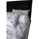 Banarsi Designs - Hand Painted Floral 7-Piece Duvet Cover Set, Snow White, Snow White, King - Our decorative and unique 7-piece hand painted floral duvet cover set from Banarsi Designs includes: 1 duvet cover, 2 square pillow covers, 2 rectangular pillow covers, and 2 bolster pillow covers.