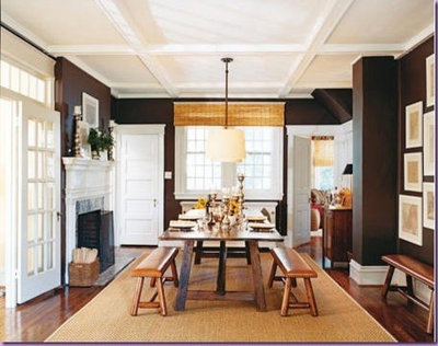 I Love How The Dark Walls Make The White Fireplace, White Ceiling, White Light  Fixture And White Frames Really Pop. Contemporary Dining Room Dining Rooms