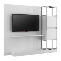 Pemberly Row Home Design Entertainment Wall Unit In White And Chrome