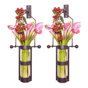 Wall Mount Hanging Glass Cylinder Vases With Metal Cradle and Hooks, Set of 2