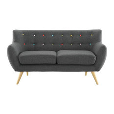 Wiley Upholstered Fabric Love Seat/Gray